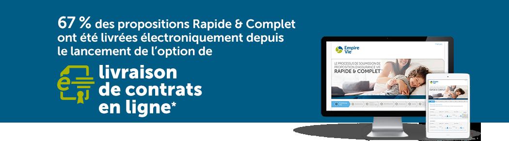 67 % des propositions Rapide & Complet ont été livrées électroniquement depuis le lancement de l'option de livraison de contrats en ligne*