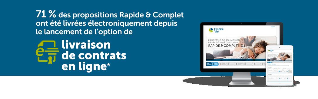 71 % des propositions Rapide & Complet ont été livrées électroniquement depuis le lancement de l'option de livraison de contrats en ligne*